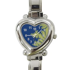 Blue And Green Design Heart Italian Charm Watch by digitaldivadesigns