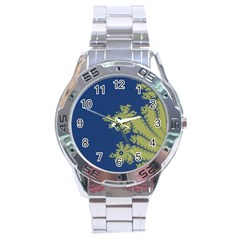 Blue And Green Design Stainless Steel Men s Watch by digitaldivadesigns