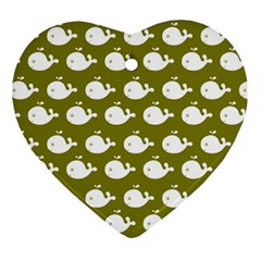 Cute Whale Illustration Pattern Heart Ornament (2 Sides) by creativemom
