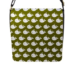 Cute Whale Illustration Pattern Flap Messenger Bag (l)  by creativemom