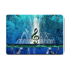 Clef With Water Splash And Floral Elements Small Doormat  by FantasyWorld7