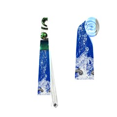 Clef With Water Splash And Floral Elements Neckties (one Side)  by FantasyWorld7