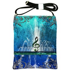 Clef With Water Splash And Floral Elements Shoulder Sling Bags by FantasyWorld7