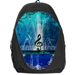 Clef With Water Splash And Floral Elements Backpack Bag by FantasyWorld7