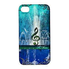 Clef With Water Splash And Floral Elements Apple Iphone 4/4s Hardshell Case With Stand by FantasyWorld7