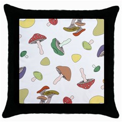 Mushrooms Pattern 02 Throw Pillow Cases (black) by Famous