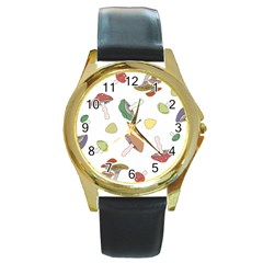 Mushrooms Pattern 02 Round Gold Metal Watches by Famous