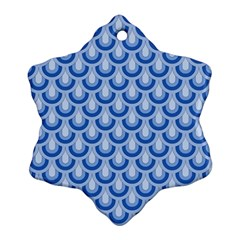 Awesome Retro Pattern Blue Snowflake Ornament (2 Side)