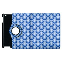 Awesome Retro Pattern Blue Apple Ipad 3/4 Flip 360 Case by ImpressiveMoments