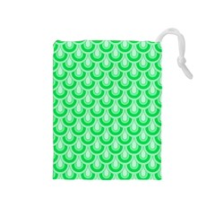 Awesome Retro Pattern Green Drawstring Pouches (medium)  by ImpressiveMoments