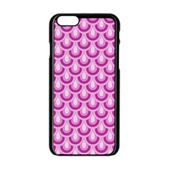 Awesome Retro Pattern Lilac Apple Iphone 6 Black Enamel Case by ImpressiveMoments