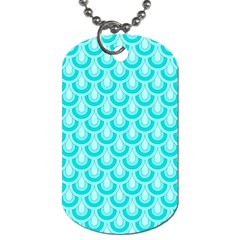 Awesome Retro Pattern Turquoise Dog Tag (two Sides) by ImpressiveMoments