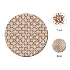 Retro Mirror Pattern Brown Playing Cards (round)