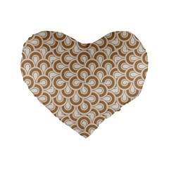 Retro Mirror Pattern Brown Standard 16  Premium Flano Heart Shape Cushions