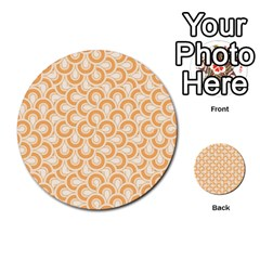 Retro Mirror Pattern Peach Multi Purpose Cards (round)  by ImpressiveMoments