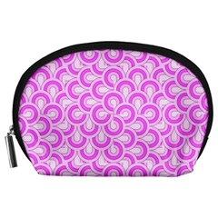 Retro Mirror Pattern Pink Accessory Pouches (large)  by ImpressiveMoments