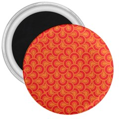 Retro Mirror Pattern Red 3  Magnets by ImpressiveMoments