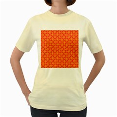 Retro Mirror Pattern Red Women s Yellow T-shirt by ImpressiveMoments