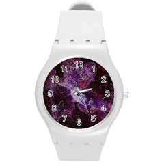 Space Like No 1 Round Plastic Sport Watch (m) by timelessartoncanvas