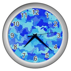 Camouflage Blue Wall Clocks (silver)