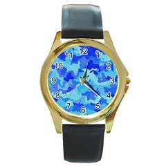 Camouflage Blue Round Gold Metal Watches