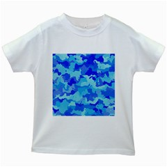 Camouflage Blue Kids White T-shirts by MoreColorsinLife