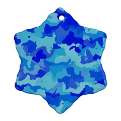 Camouflage Blue Ornament (snowflake)  by MoreColorsinLife