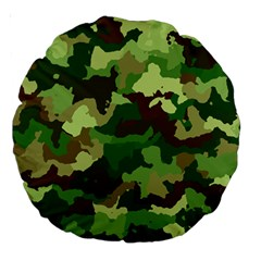 Camouflage Green Large 18  Premium Round Cushions by MoreColorsinLife