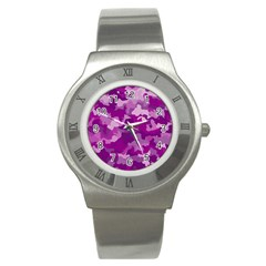Camouflage Purple Stainless Steel Watches by MoreColorsinLife