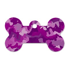 Camouflage Purple Dog Tag Bone (one Side) by MoreColorsinLife