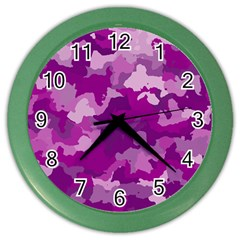 Camouflage Purple Color Wall Clocks by MoreColorsinLife