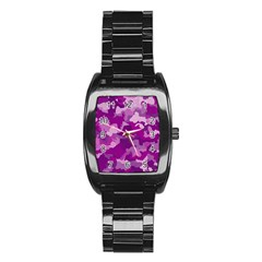 Camouflage Purple Stainless Steel Barrel Watch by MoreColorsinLife