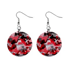 Camouflage Red,black Mini Button Earrings by MoreColorsinLife