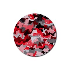 Camouflage Red,black Rubber Coaster (round)  by MoreColorsinLife