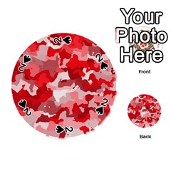 Camouflage Red Playing Cards 54 (round)