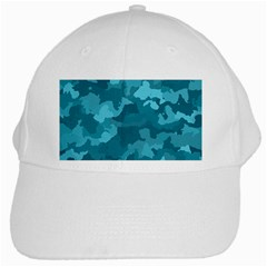 Camouflage Teal White Cap by MoreColorsinLife