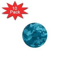 Camouflage Teal 1  Mini Magnet (10 Pack)  by MoreColorsinLife
