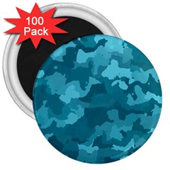 Camouflage Teal 3  Magnets (100 Pack) by MoreColorsinLife