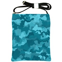 Camouflage Teal Shoulder Sling Bags by MoreColorsinLife
