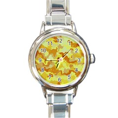 Camouflage Yellow Round Italian Charm Watches by MoreColorsinLife