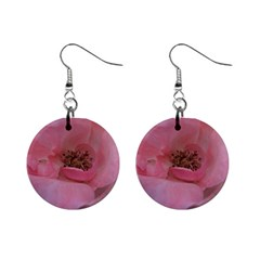 Pink Rose Mini Button Earrings