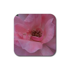 Pink Rose Rubber Coaster (Square)