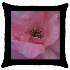 Pink Rose Throw Pillow Cases (Black)