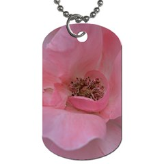 Pink Rose Dog Tag (one Side) by timelessartoncanvas