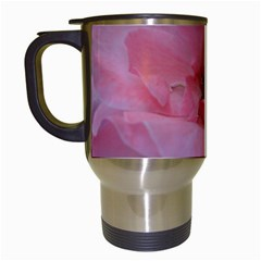 Pink Rose Travel Mugs (white) by timelessartoncanvas