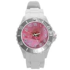 Pink Rose Round Plastic Sport Watch (l) by timelessartoncanvas