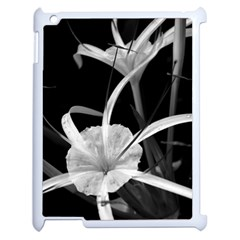 Exotic Black And White Flowers Apple Ipad 2 Case (white) by timelessartoncanvas