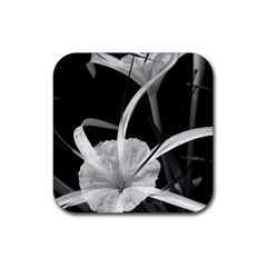 Exotic Black And White Flowers Rubber Square Coaster (4 Pack)  by timelessartoncanvas