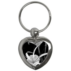 Exotic Black And White Flowers Key Chains (heart)