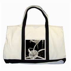 Exotic Black And White Flowers Two Tone Tote Bag  by timelessartoncanvas